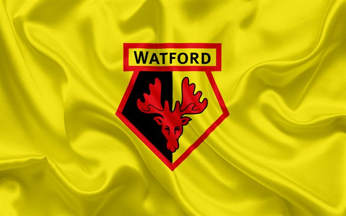 Lataa kuva Watford, Football Club, Premier League, jalkapallo, Tottenham, Yhdistynyt Kuningaskunta, Englanti, lippu, tunnus, Watford-logo, Englannin football club