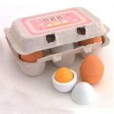 6 pcs Wooden Eggs and Yolk - Pretend Play Kitchen Food Cooking Childrens Toy <£4