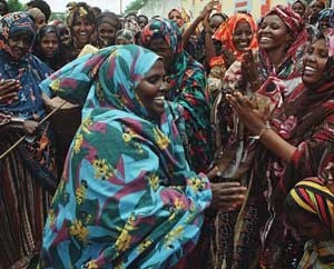 Singers and dancers participate in welcoming ceremony, Bardera, Somalia