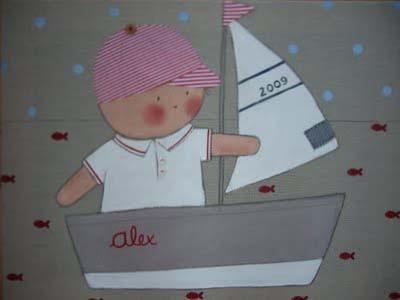 Cuadro infantil personalizado niño barco para Alex