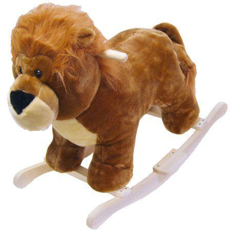 Lion Plush Rocking Horse Animal Ride On Toy by Happy Trails, Orange