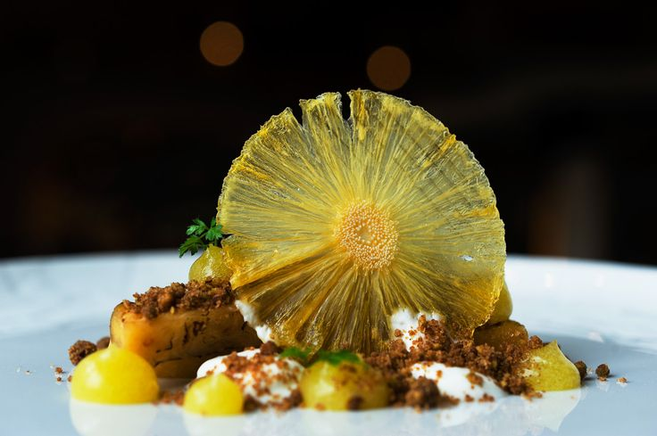 Pineapple & yogurt - marinated pineapple with pistachio crumbs, pineapple gel and yogurt sorbet.