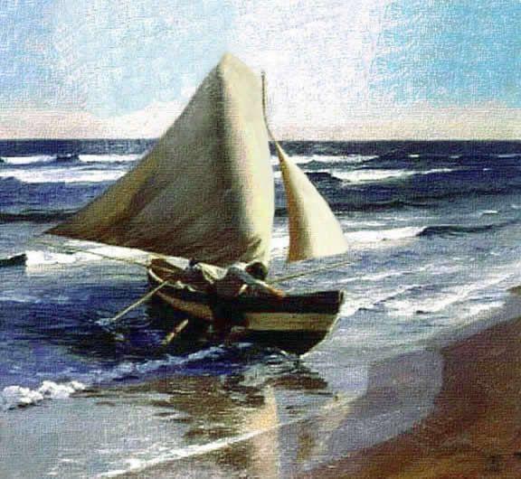 Pintura impresionista de marina por Rebolledo.