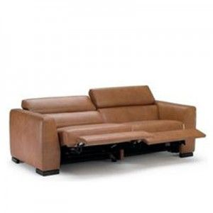 Reclining lights brown leather sofa
