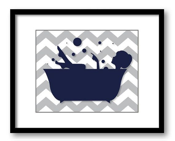 INSTANT DOWNLOAD Hair Up Navy Grey Girl in a Bath by PrintsWallArt, $5.00