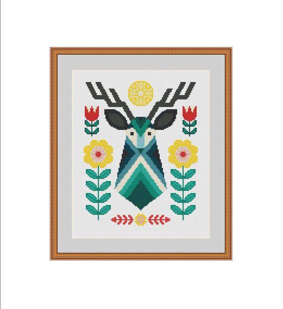 Deer cross stitch pattern, Deer cross stitch, Deer embroidery design, Primitive deer, Deer pattern, Folk art, Folk deer, Primitive pattern