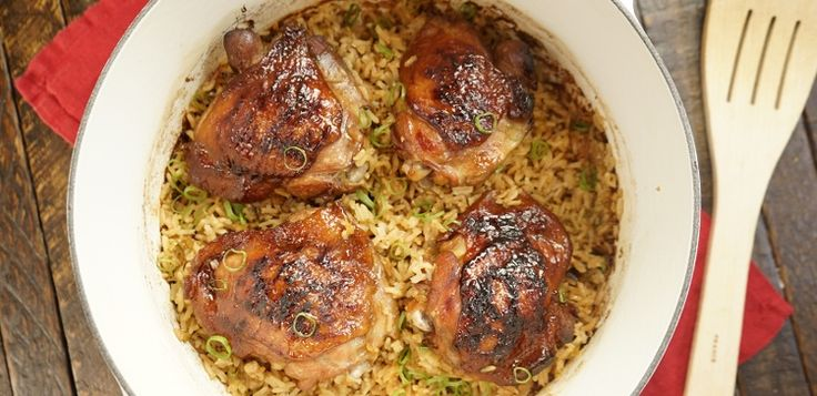 Easy, one-pot meal with juicy chicken thighs in an Asian-inspired honey & soy sauce marinade, baked with some of the most flavorful rice we've ever tasted.