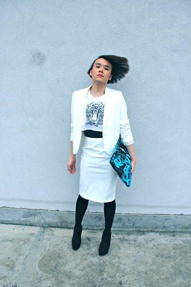 Topshop Crop Top, H&M Blazer, Gloss Pencil Skirt, Uniqlo Tights, River Island Heels, Uniqlo Vest, Holly Fulton Clutch Bag