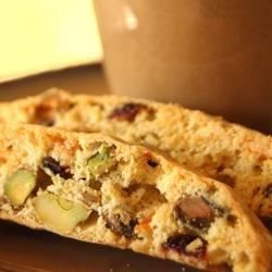 Fresh tasting biscotti with orange zest, dried cranberries, white chocolate, and pistachios.  Very light and tasty.
