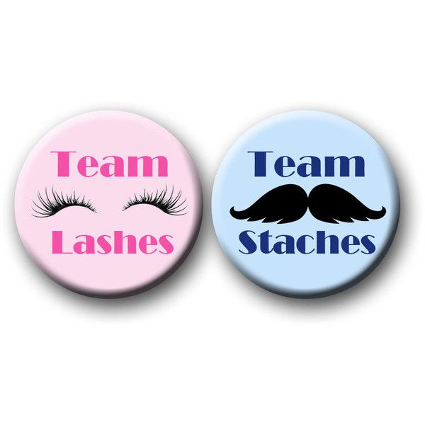 Mustache or Lash Gender Reveal Party Favors 1.25 inch pinback buttons... ($10) ❤ liked on Polyvore featuring beauty products, makeup, eye makeup and false eyelashes