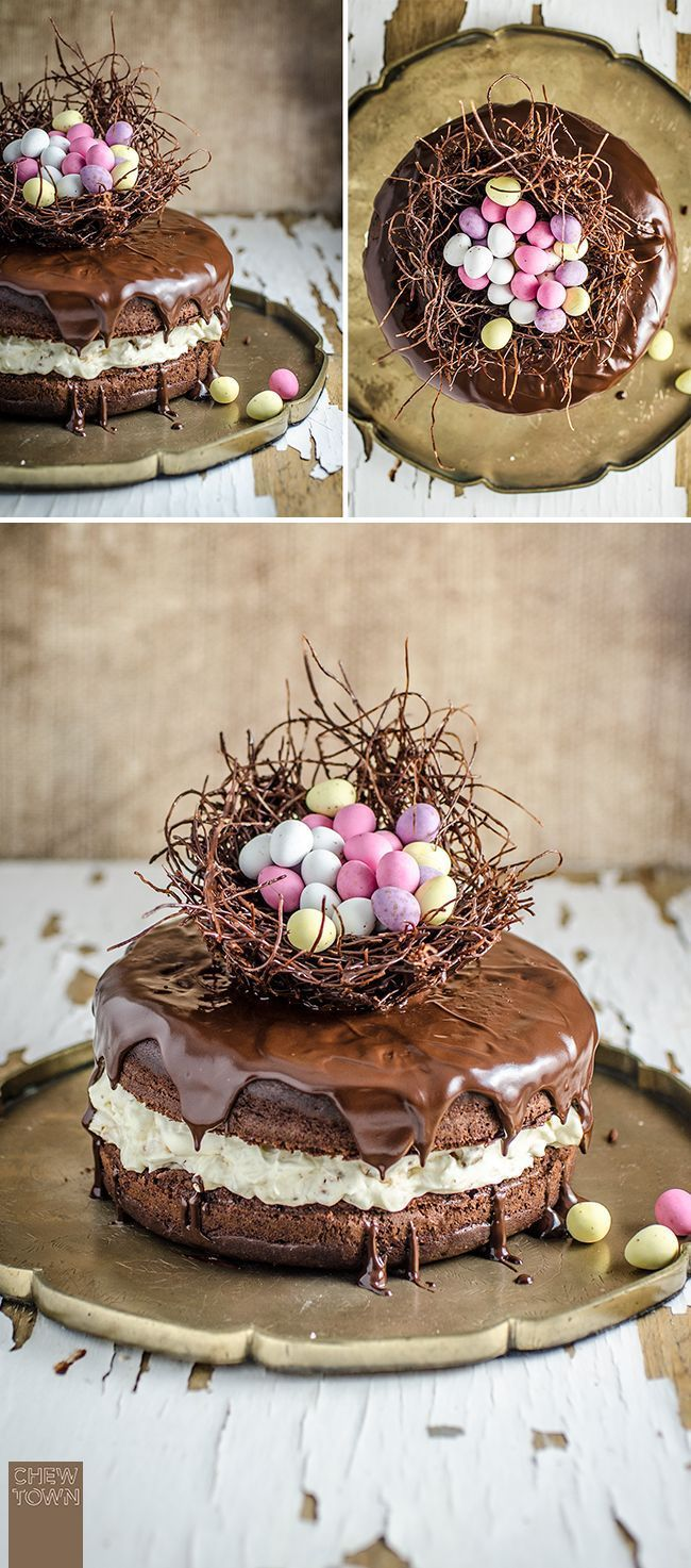 Chocolate Easter Egg Nest Cake | Chew Town Food Blog. This is beautiful and looks delicious!