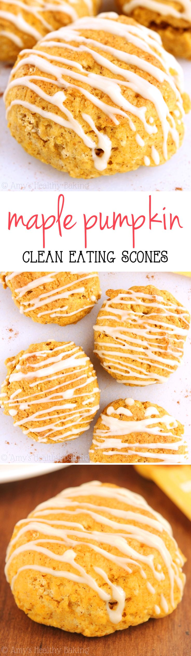 Clean-Eating Maple Pumpkin Scones -- these taste like pumpkin pie for breakfast! SO easy & nearly 4g of protein!