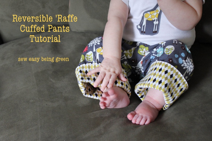 sew easy being green: Boys' Reversible Cuff Pants