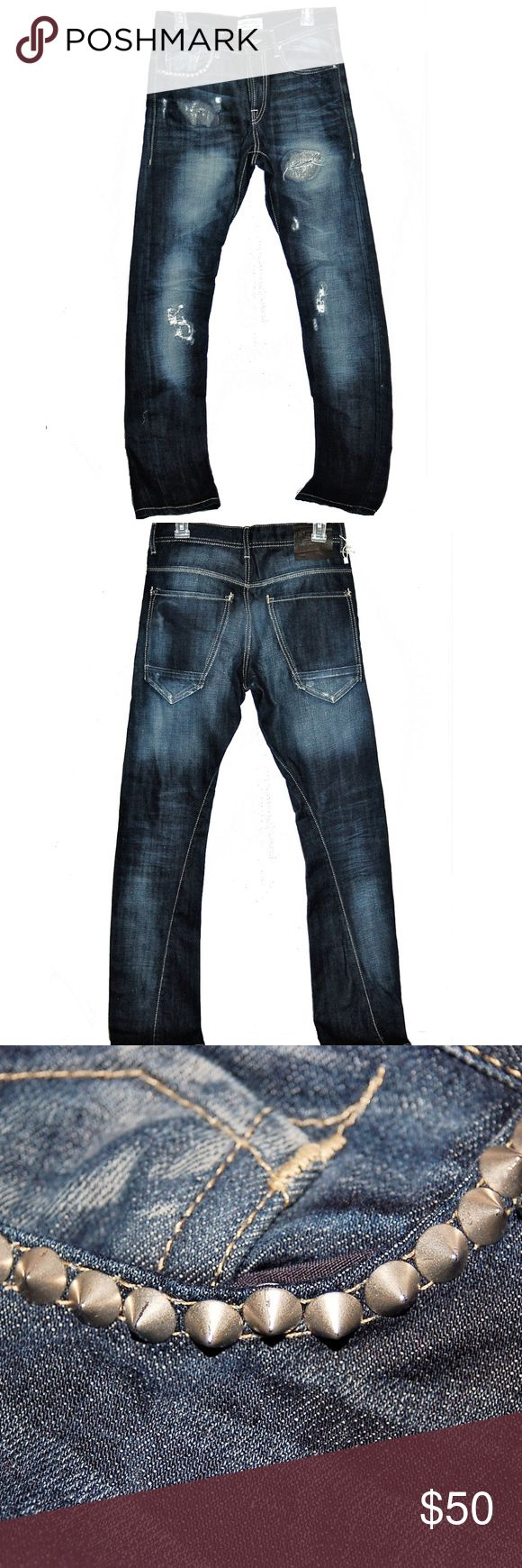 """ZARA MAN COLLECTION JEANS Distressed Studded Jeans Very nice dark wash skinny jeans in unworn condition! Cool pocket stud detailing. EUR38 /US30.   Measure approx: 15"""" across waist, 17 1/4"""" across hip area, 9 1/2"""" rise, 42 1/4"""" full length waist to hem Zara Man Jeans Skinny"""
