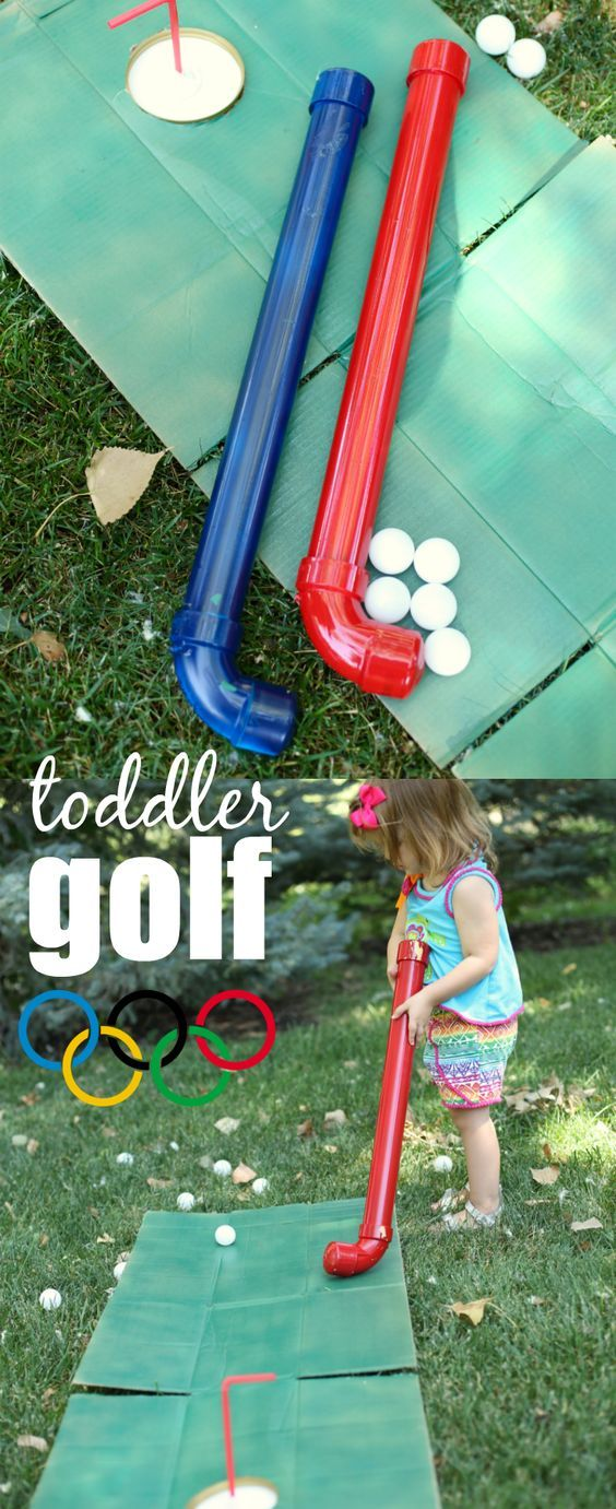 Make some super simple toddler golf clubs with just a few simple materials from the hardware store.  Such a fun way to celebrate golf being an Olympic event this year!
