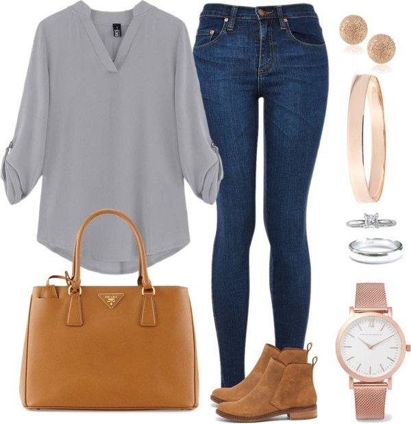 Andrea Moda y Asesoría: Blusa gris claro jean oscuro