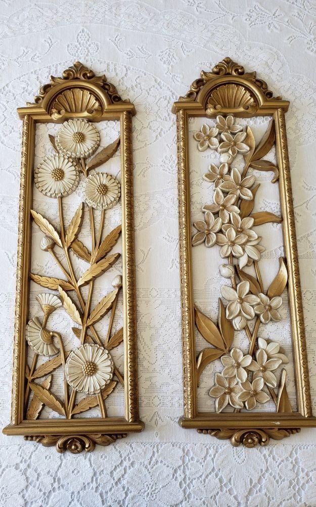 Plaster MCM vintage floral wall hanging sculpture