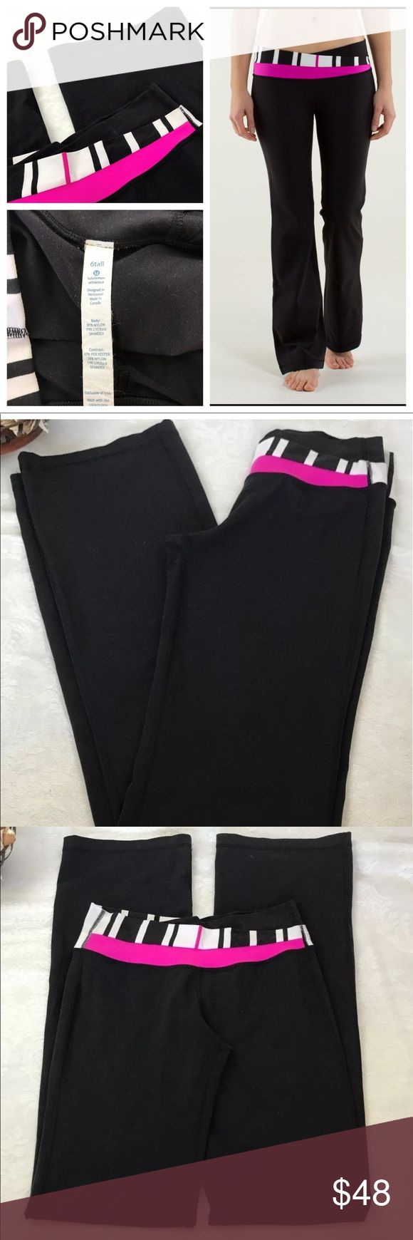Lululemon Astro Pant 6 Tall Black Traverse Gently Used Lululemon Astro Pant 6 Tall Black Traverse Stripes Paris Perfection Waist Band is Striped with Black, White and Pink Detail  Waist can be worn up high or folded over   Waist: 10in.  Rise: 6in.  Length: 26in. Slight piling nothing major  Stock BB14.2 lululemon athletica Pants Track Pants & Joggers