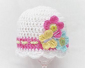 HAPPY SUN HAT Crochet Pattern Baby Sun Hat by KerryJayneDesigns