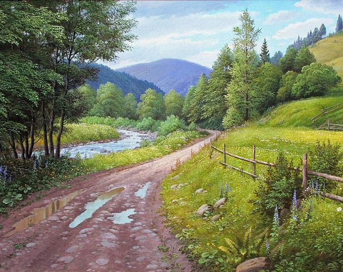 Mountain River Original Oil Painting Home Decor Landscape Summer Landscape Large Painting Realism Oil Painting Art Collectibles Wall Art ธรรมชาต