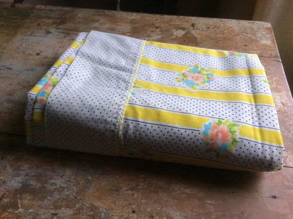 Vintage flat sheet double full yellow stripe polka dot floral black pink blue green