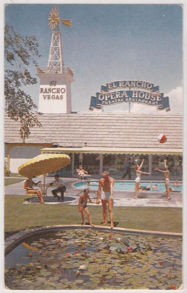Las Vegas, Nevada Postcard EL RANCHO VEGAS Pool Scene w/ Opera House Sign c1950s #WeAre