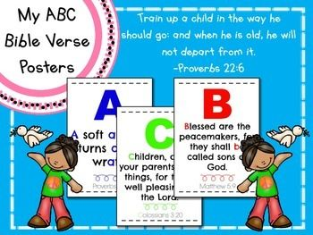 This download includes 26 half page posters each with a different Bible verse for every letter of the alphabet.  I designed these posters to go with the book, My ABC Bible Verses: Hiding Gods Word in Little Hearts By Susan Hunt.  I highly recommend purchasing the book to use in your Bible curriculum, but this set can also be used independently of the book.I like to print and laminate these posters and use them in addition to my letter of the week curriculum.