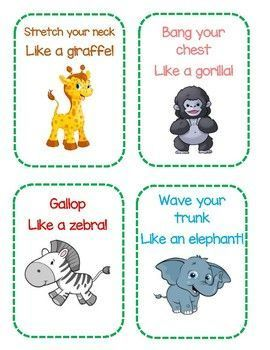 Zoo Themed Gross Motor Cards