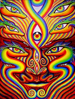 Alex Grey  this was painted at rainbow serpent 2012 and is now owned by a friend of mine