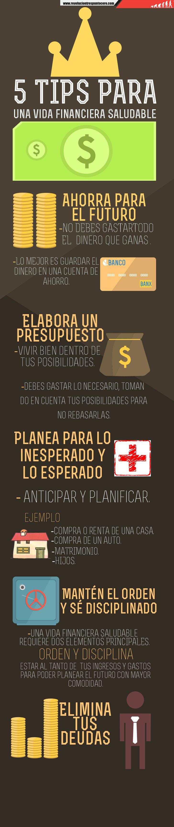 #INFOGRAFÍA 5 tips para una vida financiera saludable  http://revoluciontrespuntocero.com/5-tips-para-una-vida-financiera-saludable-infografia/
