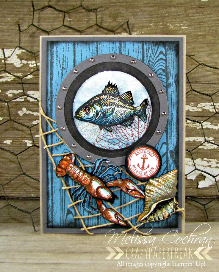 Stampin' Up! Masculine card created by Melissa Cochran @ crazypaperfreak.blogspot.com. Hardwood, By the Tide, Nautical, Fishing, Lobster