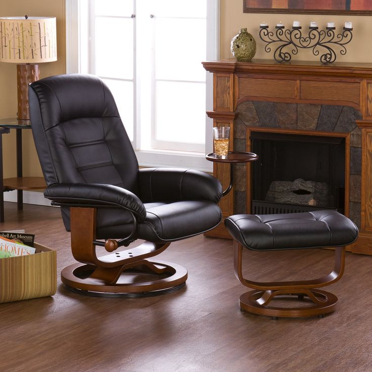 best living room chair%0A Wildon Home    Shaw Leather Ergonomic Recliner and Ottoman  Recliner ChairsChaise  Lounge