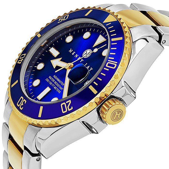 """Henry Jay para hombre 23K chapados en oro de dos tonos de acero inoxidable Specialty Aquamaster """"Professional Reloj de Buceo para"""
