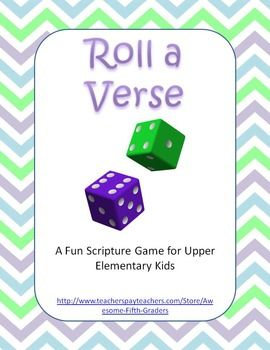 Roll a Verse Scripture Game for Upper Elementary KidsHere is a fun and easy game to help kids practice Bible verses. The game is played in pairs. They roll the die and write the phrase of the verse that matches the number. Ideas for Use:1. Christian school2.