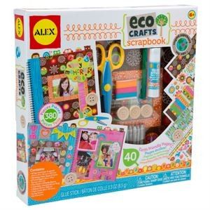 Eco Scrapbook - Eco Crafts Scrapbook includes all the materials needed to design and decorate a colourful, visually inspiring scrapbook. Fill all the pages of this 40 page, hardcover, spiral notebook with photos, stickers, drawings, wooden buttons, string, colourful ribbons and more. $30 at Kids Toys to You - www.kidstoystoyou.com.au