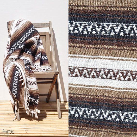 Large Mexican Blanket // Serape Saltillo // Western Southwestern Blanket // Indian Blanket // Vintage // Mexican Rug Throw #boho #bohemian #gypsy #vintage #aligras #aligrasvintage #etsy #indian #tribal #mexican #homedecor #bedding