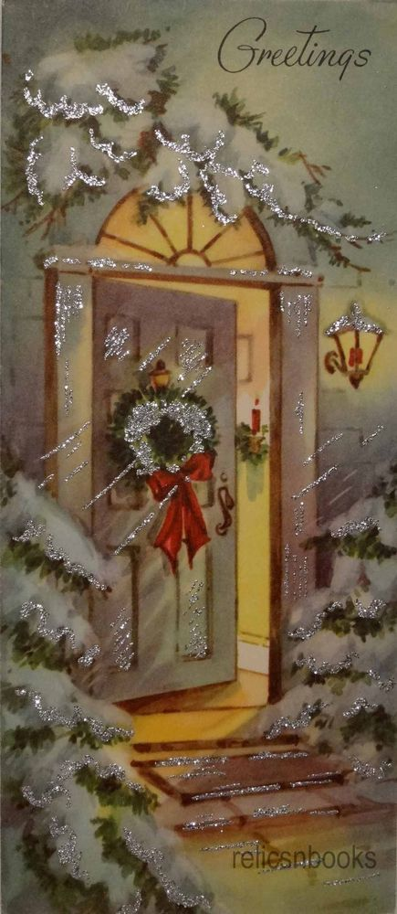 #952 50s Glittered Welcoming Front Door Scene-Vintage Christmas Card-Greeting
