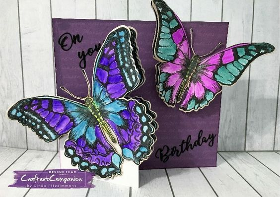 Card made using Sara Signature Flutterby Collection - Framed Wings die and stamp set. Designed by Linda Fitzsimmons #crafterscompanion