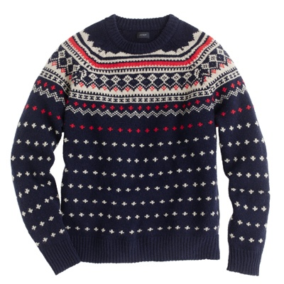 """""""Get this for him: The spirited cousin.  Rest assured that a festive sweater like this lambswool J.Crew Fair Isle ($128, jcrew.com) will adapt to an après-ski café and a day on the ice rink and pretty much anywhere his lighthearted laugh takes him."""" From Men's Health"""