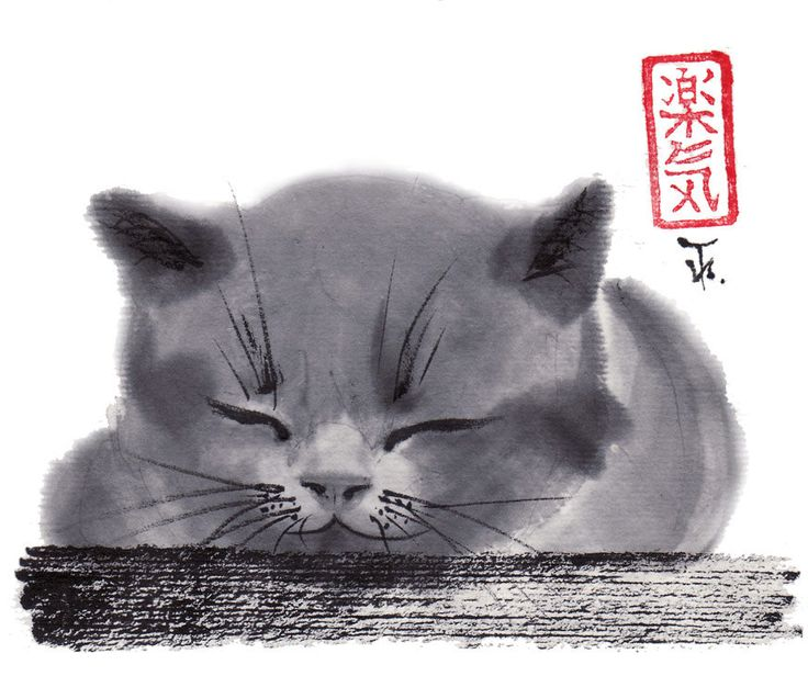 """""""Le chaton qui dort"""" une originale """"sumi-e brush painting"""" peint à la façon japonaise traditionnelle par l'artistet Irina Terentieva.     """"...mignon qui semble dire,   """"N'aie pas peur du monde complexe, aime-moi seulement."""""""