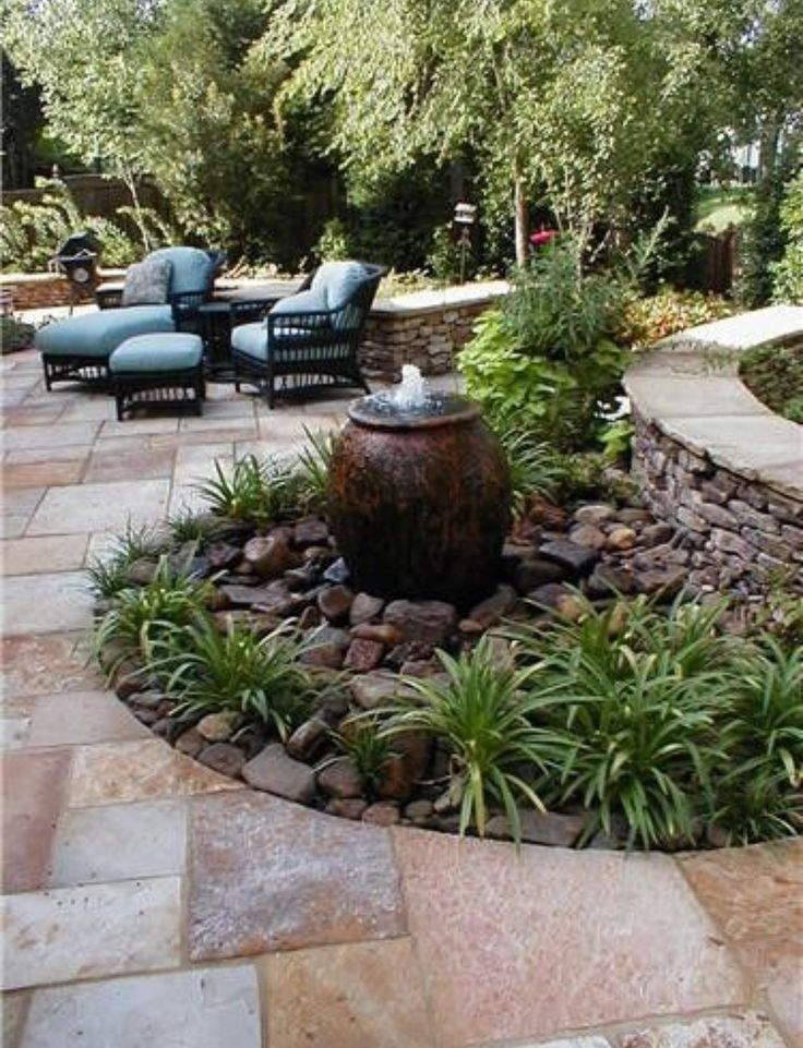 Love the stone patio and the fountain