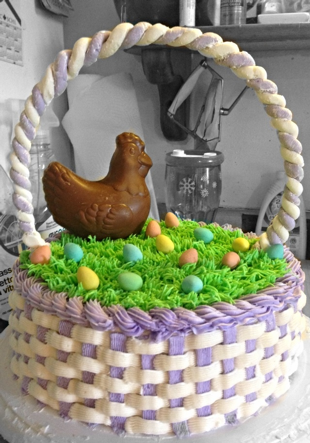 Easter basket cake/ with chocolate chicken,bunny and eggs- made by me