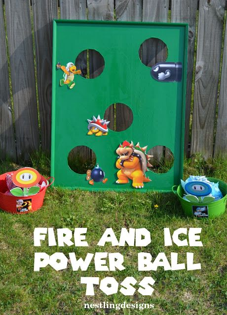 Mario Games : fire power and ice power ball toss
