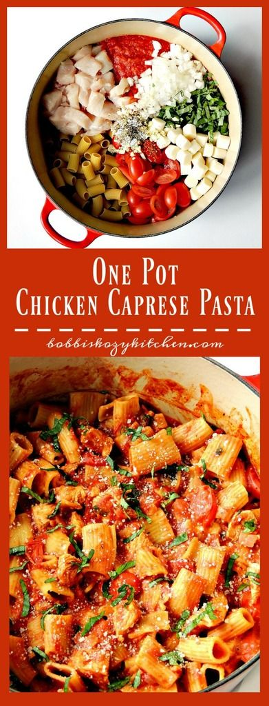 This One Pot Chicken Caprese Pasta is quick, easy, and oh so delicious. Bonus - only one pot to clean! From www.bobbiskozykitchen.com