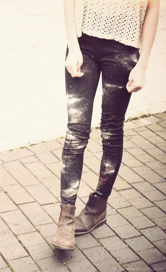 Lace top and splatter wash jeans with saddle ankle boots