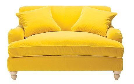 Yellow velvet sofa - love this. but not velvet