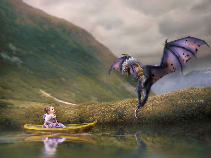 Rebecca and Dragon. A photoshop composite of a girl and a dragon. #toddlerphotography toddler photography child portrait. painted effect photo