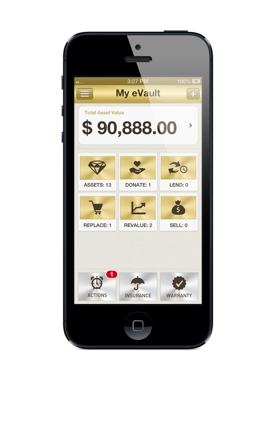 My eVault - asset dashboard view for iPhone 5 (Version 1.1 upgrade due out in June 2012)