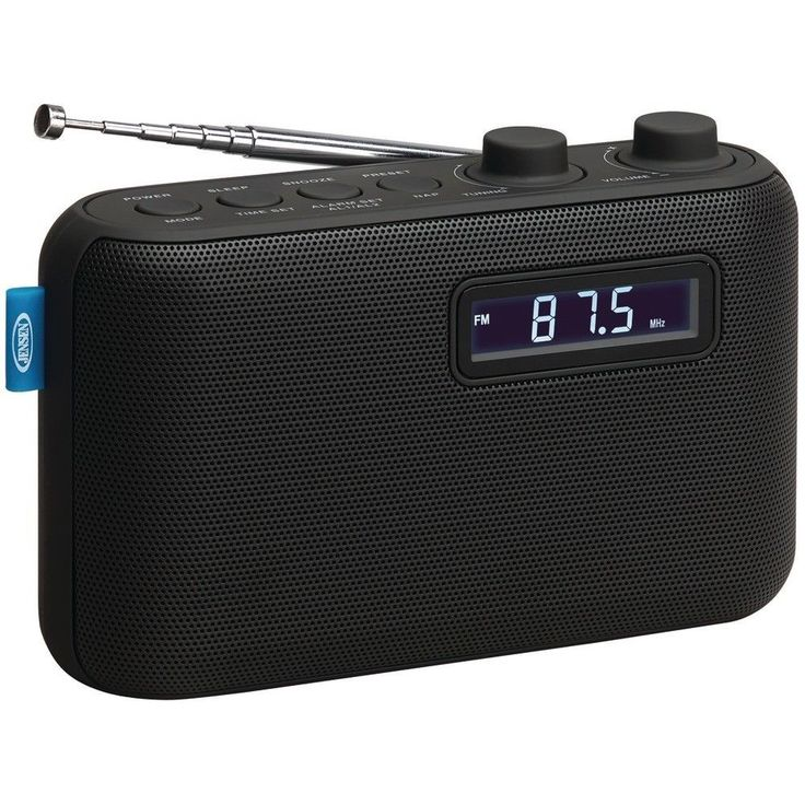 Jensen Black Digital Tune AM FM Portable Radio with Dual Alarm Clock Sleep Nap #Jensen