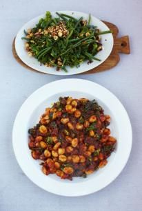 Sausage gnocchi with warm kale & bean salad